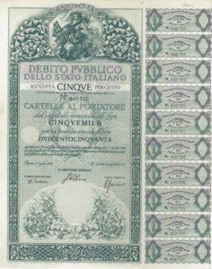 cartella 5000 lire- rendita 5%
